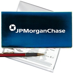 Lenticular checkbook cover with dark blue and light blue, color changing