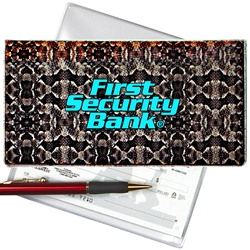 Lenticular checkbook cover with snake skin print, color changing
