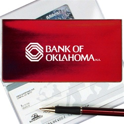 Lenticular checkbook cover with red, yellow, and black gradient, color changing
