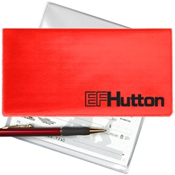 Lenticular checkbook cover with red and white gradient, color changing