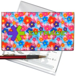 Lenticular checkbook cover with red, blue, pink, and purple flowers, depth