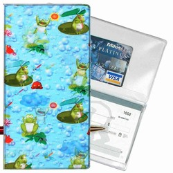 Lenticular checkbook cover with frogs sit on lily pads and catch flies with their tongue, flip
