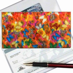 Lenticular checkbook cover with vibrant spring time flowers and butterflies, flip