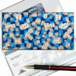 Lenticular checkbook cover with Las Vegas gambling dice on a blue background, depth