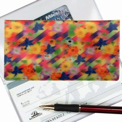 Lenticular checkbook cover with multicolored flowers on a rainbow background, depth