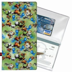 Lenticular checkbook cover with dogs barking and cats meowing, green background, depth