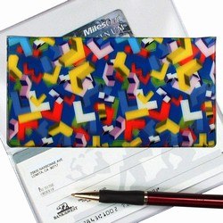 Lenticular checkbook cover with multi colored L shapes on a blue background, depth