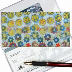 Lenticular checkbook cover with flowers and happy faces, flip