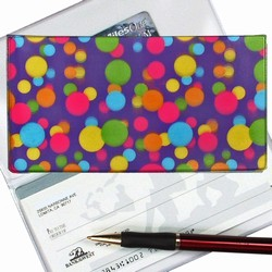 Lenticular checkbook cover with pink, yellow, blue, and green balls on a purple background, depth