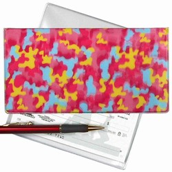 Lenticular checkbook cover with pink, blue, and yellow camouflage print, depth