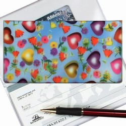 Lenticular checkbook cover with multi colored hearts and flowers on a sky blue background, depth