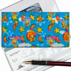 Lenticular checkbook cover with stars, moons, dogs, clouds, and sky, depth