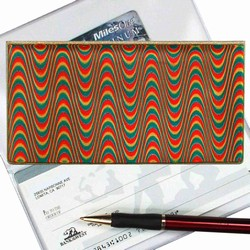 Lenticular checkbook cover with moving squiggly pattern of red, yellow, and green, color changing animation