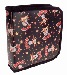 Lenticular CD case with custom design, Betty Boop with stars and black background, flip