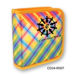 Lenticular CD case with vibrant colorful plaid pattern, color changing