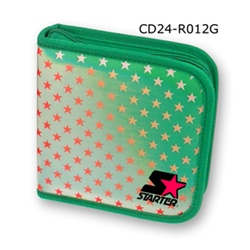 Lenticular CD case with white and red stars on a green background, color changing flip