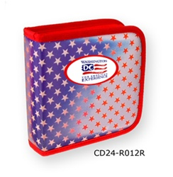Lenticular CD case with USA flag, red and white stars on a blue and white background, color changing flip