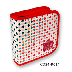 Lenticular CD case with Vegas casino playing cards with clubs, spades, diamonds, and hearts, color changing flip