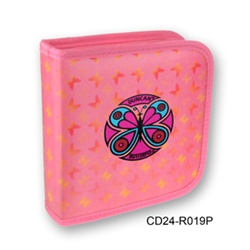 Lenticular CD case with yellow, red, and green butterflies on a pink background, color changing flip