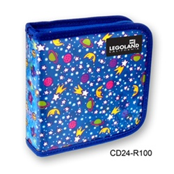 Lenticular CD case with outer space stars, planets, ships, and galaxies, day and night, flip