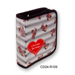 Lenticular CD case with cute teddy bears pop out from a black and white striped background, depth