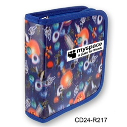 Lenticular CD case with universe space ships, planets, comets and asteroids, depth