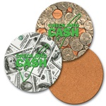 Lenticular coaster with USA money, dollars and coins, flip