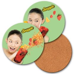 Lenticular coaster with custom design, smiling Snapple girl holding a drink, flip