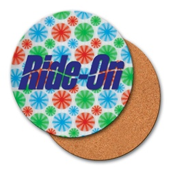 Lenticular coaster with colorful spinning wheels on white background, animation