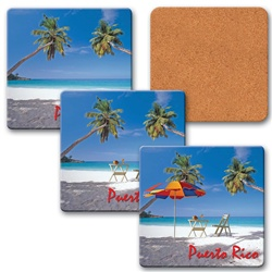 Lenticular coaster with palm trees, umbrella, and lawn chair appear on a tropical Hawaiian beach, flip