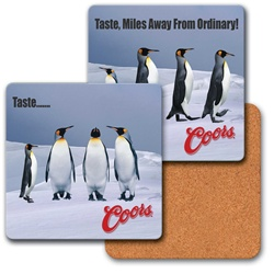 Lenticular coaster with penguins dancing in the Antarctic snow, flip