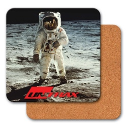 Lenticular coaster with NASA astronaut stands on the moon, depth