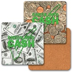 Lenticular coaster with American paper currency and coins, flip
