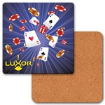 Lenticular coaster with Las Vegas casino chips, cards and dice explode from the center, depth