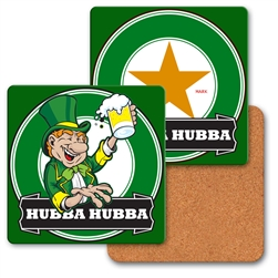 Lenticular coaster with Custom design, green  leprechaun smiles and holds up a beer for St. Patricks Day, flip