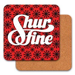 Lenticular coaster with red spinning wheels on white background, animation