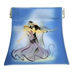 Lenticular coin purse with custom design, Cinderella dancing with a blue background, flip