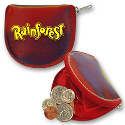 Lenticular coin purse with red, yellow, green, and black, color changing with
