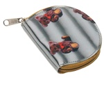 Lenticular coin purse with teddy bears on a black and white striped background, depth