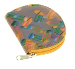 Lenticular coin purse with multicolored pencils on a pink and purple background, depth