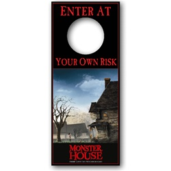 Lenticular door hanger with custom design, Monster House grows a scary face, animation