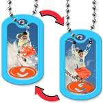 Lenticular dog tag with snow skiier jumps off a mountain, flip
