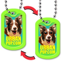 Lenticular dog tag with Lassie type dog's eye grow and buldge out of its head, flip