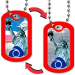Lenticular dog tag with Statue of Liberty switches backgrounds from US flag to Constitution, flip