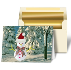 Lenticular Christmas Card, Snowman wearing Santa's Hat - Lantor, Ltd.