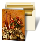 3D Lenticular Greeting Christmas Card with Custom Design, Red Wine Bottles, Flowers, and Bags, Depth
