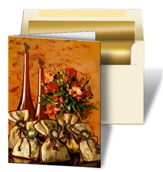 Lenticular Greeting Card with Custom Design, Red Wine Bottles, Flowers, and Bags, Depth