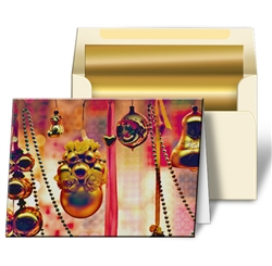 3D Lenticular Greeting Card with Red Christmas Holiday Ornaments and Gold Bells, Depth