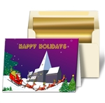 Lenticular Christmas Card with Santa, Snow, Tree and Reindeer. Animation effect.