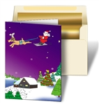 Lenticular Merry Christmas Cards Animated Design Print with Santa, Stars, Snow, Tree and Reindeer
